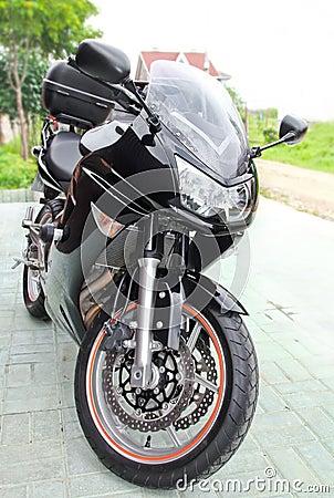 Sport black motorcycle