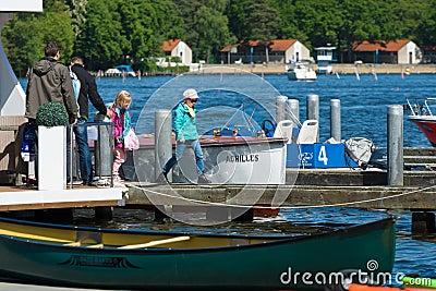 Sport boats, kayaks and canoes at the marina Editorial Photo