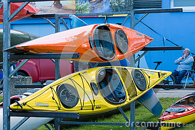 Sport boats, kayaks and canoes at the marina Editorial Stock Photo
