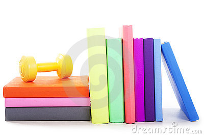 Sport books with dumbbell