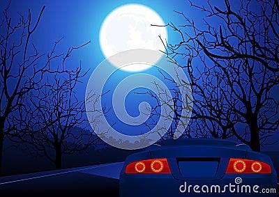 Sport car on night road