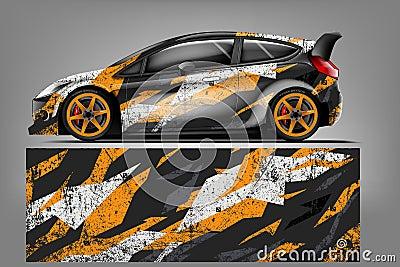 Sport car racing wrap design. vector design. - Vector Vector Illustration