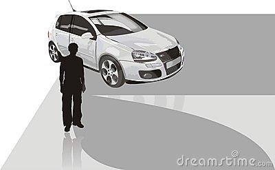 Sport car and silhouette of man