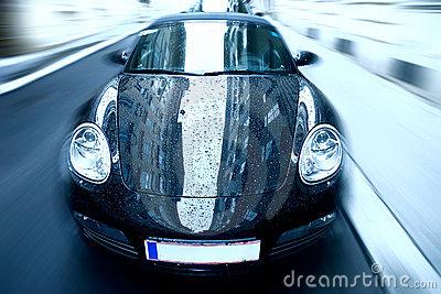 Sport car with special zoom blur effect Editorial Stock Image