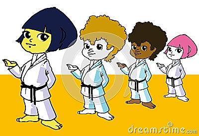 Sport, Diversity Children and Martial Art Cartoon