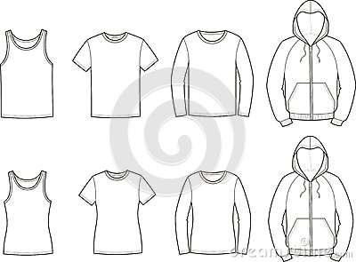 Vector illustration. Set of mens and womens sport clothes: singlet, t