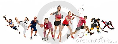 Sport collage about kickboxing, soccer, american football, basketball, ice hockey, badminton, taekwondo, tennis, rugby Stock Photo