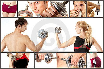 Sport concept collage. Fitness, bodybuilding
