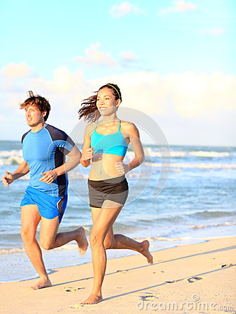 Sport couple running fitness