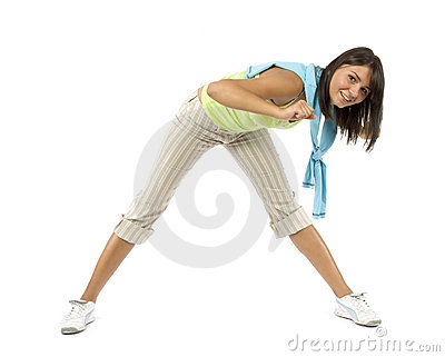 Sport dressed woman does exercise