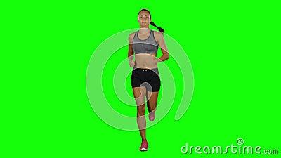 Sport działająca Dziewczyna Frontowy widok zielony ekran zbiory