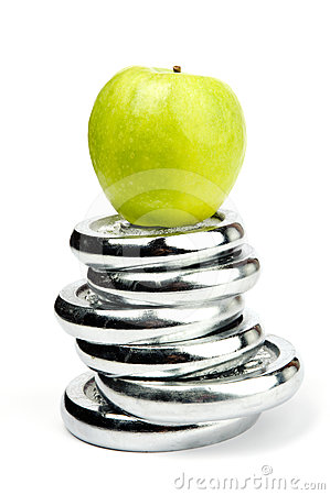 Sport equipment and an apple