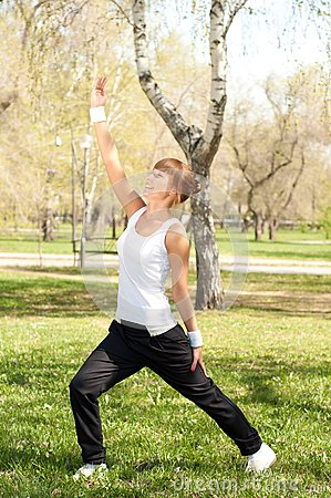 Sport exercises in the park