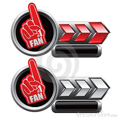 Sport fan hand on red and white arrow nameplates