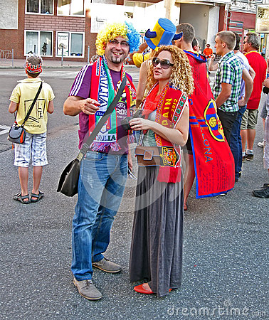Sport fans from Spain and Italy communicate, Editorial Stock Photo