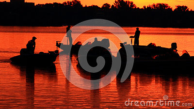 Sport fisherman and there boats at sunrise