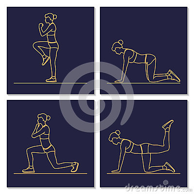 Sport fitness woman exercise workout silhouettes. Vector Illustration