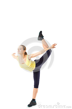 Free Sport Fitness Woman, Young Healthy Girl Doing Exercises, Full Length Portrait Isolated Stock Image - 43359681