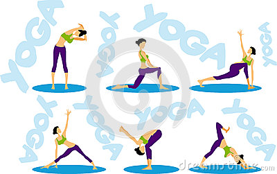 Sport fitness Yoga sequence icons set