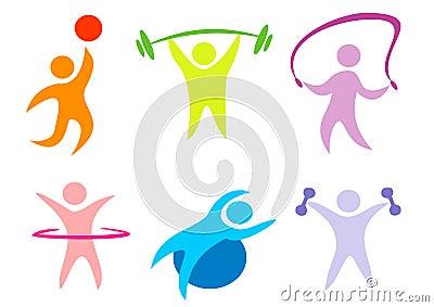 Sport för samlingskonditionsymboler