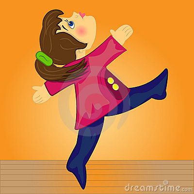 Sport girl doing gymnastic.cartoon kid