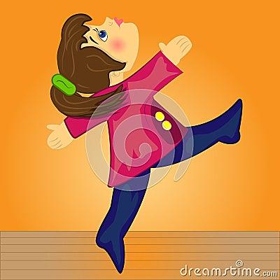 Sport girl doing gymnastic.cartoon kid