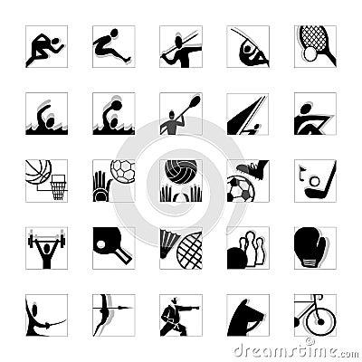 Sport icon set black-white invert
