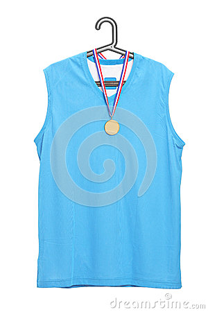 Sport jersey and a golden medal hanging on a hanger