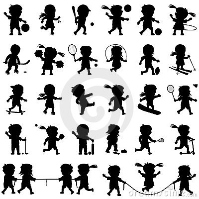 Free Sport Kids Silhouettes Set Stock Photography - 12494422
