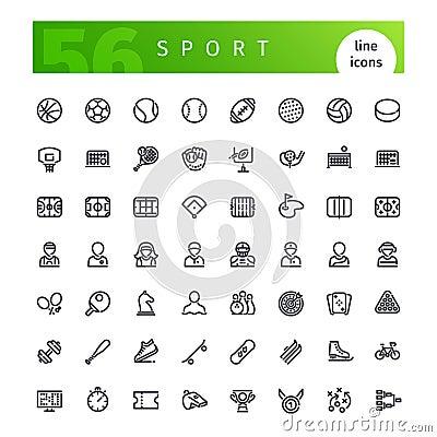 Free Sport Line Icons Set Royalty Free Stock Image - 79289466