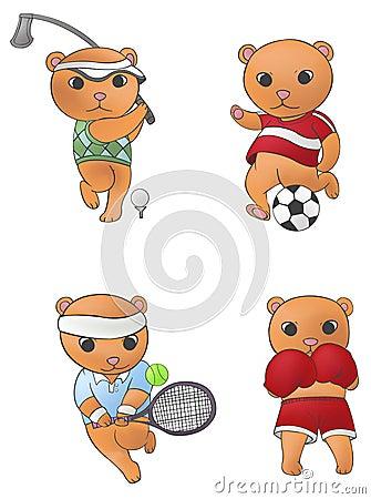 Sport mascot bear collection set 1