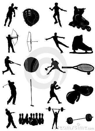 Sport people and equipment vector