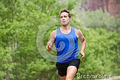 Sport running fitness man training towards goals
