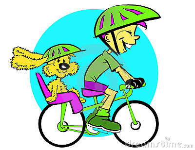 Dog Child and Bicycle, Cartoon