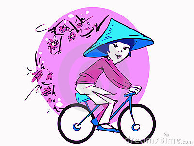 Asian Woman on Bycicle, Cartoon