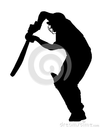 Sport Silhouette - Cricket Batsman Blocking Ball