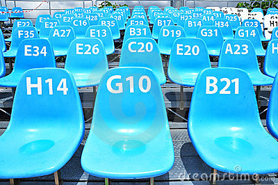 Sport stadium seat and number