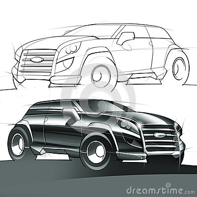 Sport Utility Vehicle Sketch and Rendering