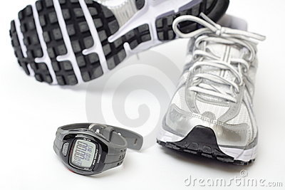 Sport watch and running shoes