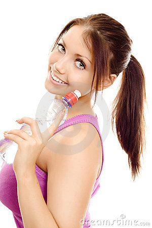 Sport woman with bottle water smile