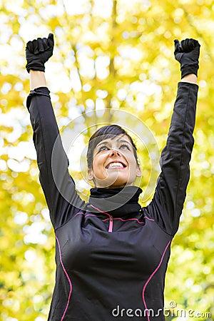 Sport woman celebrating victory
