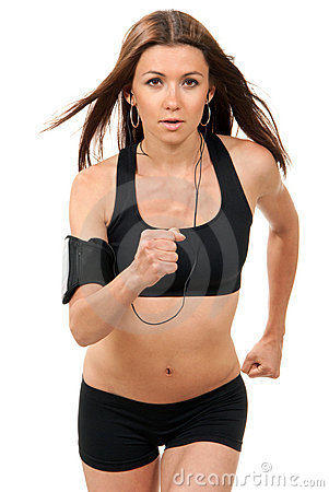 Sport Woman Jogging, Running, Listening Music Stock ...