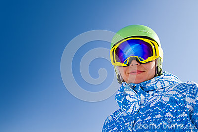 Sport woman in snowy mountains