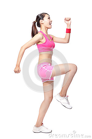 Sport woman stretches her leg