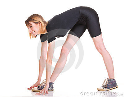 Sport Young woman doing exercise isolated on white