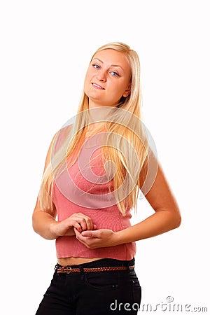 Sportieve blonde vrouw