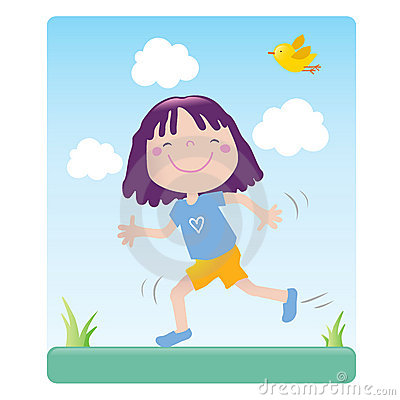 Sporting cartoon girl