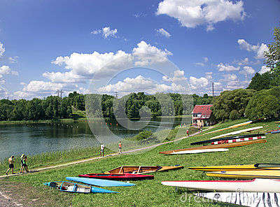 Sporting competitions on kayaks and canoe Editorial Stock Photo