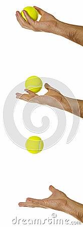 Sporting equipment: throwing a tennis ball.