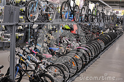 Sporting goods store bikes Editorial Image